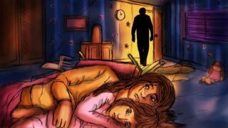 Illustration showing silhouette of man in doorway while a woman and a small girl lie on the floor