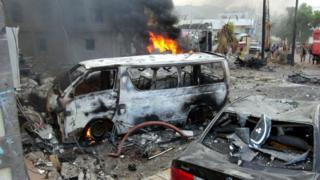 Aftermath of a suicide car bomb attack near the presidential palace in Aden, Yemen (28 January 2016)