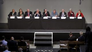 Hillsborough Independent Panel members (from left to right) Raju Bhatt, Sarah Tyacke, Paul Leighton CBE, Peter Sissons, Bishop of Liverpool The Right Reverend James Jones (Chairman), Professor Phil Scraton, Dr Bill Kirkup CBE, Christine Gifford and Katy Jones answer questions at a press conference at the Liverpool's Anglican Cathedral after the release of previously unpublished papers relating to the Hillsborough disaster.