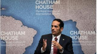 Sheikh Mohammed bin Abdulrahman Al-Thani speaks during a Chatham House think tank in London on July 5, 2017
