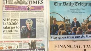 周三(12月7日)英国主要报纸
