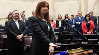 Handout picture released by Argentina's Senate press office showing Argentine former president and Buenos Aires senator Cristina Fernandez de Kirchner swearing-in for a new mandate as senator, at the Congress in Buenos Aires, on November 29, 2017.
