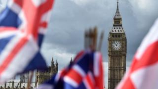 Stock photo of flags and Westminster