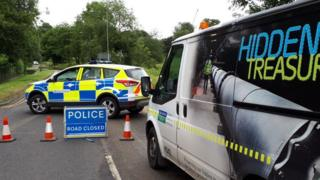 Police and Severn Trent at the site of the burst main