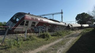 A Greek express train slammed into a house after derailing near the northern city of Thessaloniki, killing three people and seriously injuring others, 14 May 2017