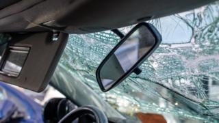 A smashed windscreen