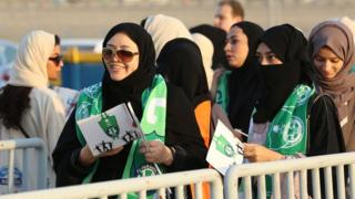 Female Saudi supporters of Al-Ahli reserve at an opening for families and women at the King Abdullah Sports City in Jeddah on Jan 12, 2018,