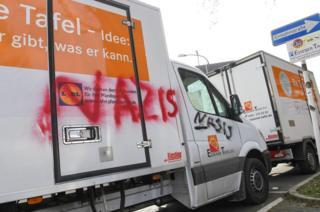 "Essener Tafel van with ""Nazis"" graffiti, 26 Feb 18"