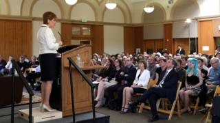 Nicola Sturgeon giving speech