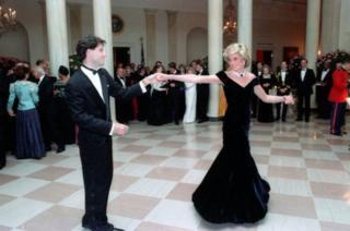 Princess Diana dances with John Travolta at the White House on 9 November 1985.