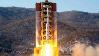 Rocket launch on 7 February 2016, picture from North Korea's official news agency