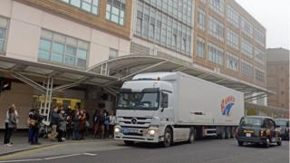 Lorry containing medical equipment which is heading to Syria