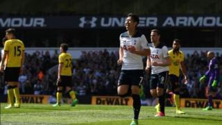 Le Sud-Coréen Son qui a signé un doublé pour Tottenham face à Watford battue 4 à 0, à l'occasion de la 31e journée de Premier League