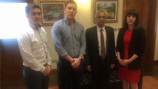 John McAreavey, Mark Harte and Claire McAreavey with Mauritian PM Pravind Jugnauth