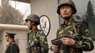 Polisi wa China wakilinda ubaloziu wa Marekani katika mji mkuu, Beijing
