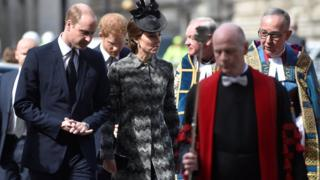 The Duke and Duchess of Cambridge arrive at the service