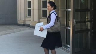 Former Air China employee Ying Lin exits the building after a pretrial hearing in federal court in Brooklyn, New York, U.S. on June 21, 2016