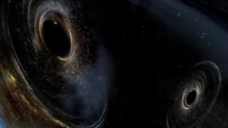หลุมดำซึ่งกำลังจะชนและรวมตัวเข้าด้วยกัน หมุนอยู่ในแนวที่ไม่ขนานกัน