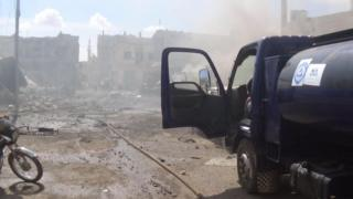 Aftermath of an airstrike in Talbiseh, Syria. 30 Sept 2015