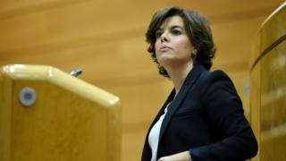 Spanish Deputy Prime Minister Soraya Saenz de Santamaria gives a speech during the Upper Chamber of the Spanish Parliament - 26 October 2017