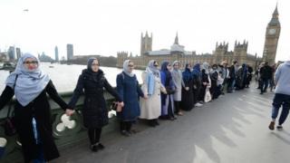 группа мусульманских женщин на Вестминстерском мосту