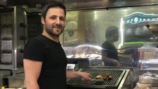 Murat Baser cooking kebabs at The Olive Tree, Norwich