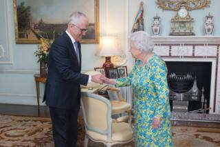 Australian PM Malcolm Turnbull meets the Queen on Tuesday at Buckingham Palace