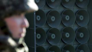 South Korean soldier stands near loudspeakers on border between South Korea and North Korea in Yeoncheon. Jan 8 2016