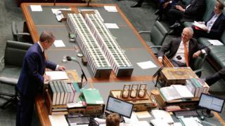 Opposition leader Bill Shorten speaks while Prime Minister Malcolm Turnbull looks on in Australia's lower house