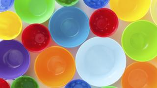 Coloured plastic bowls