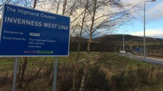 Sign at section of the new Inverness West Link