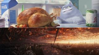 Scenes from The Secret Life of Pets (top) and Independence Day: Resurgence