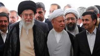 آیت الله خامنه ای، اکبر هاشمی رفسنجانی و محمود احمدی نژاد