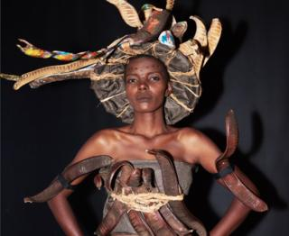 Lilian Ericaah Maraule, Miss Tanzania 2017 prepares backstage in her National Costume at Planet Hollywood Resort ^ Casino on November 18, 2017. The National Costume Show is an international tradition where contestants display an authentic costume of choice that best represents the culture of their home country. The Miss Universe contestants are touring, filming, rehearsing and preparing to compete for the Miss Universe crown in Las Vegas, Nevada.