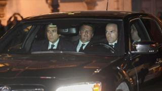 Outgoing Italian Prime Minister Matteo Renzi arrives at the Quirinale Palace to tender his formal resignation to President Sergio Mattarella
