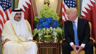 US president Donald Trump with Qatar's emir in May