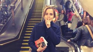 Emma Watson dropping books off on the Tube
