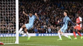 Leroy Sane akipachika goli la nne dhidi ya Monaco