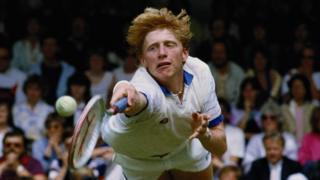 Boris Becker playing at Wimbledon in 1985