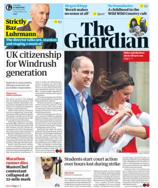 Guardian front page -24/04/18