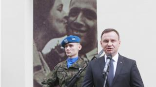 Poland's President Andrzej Duda speaks during commemorations marking the 70th anniversary of a massacre of Jews in Kielce