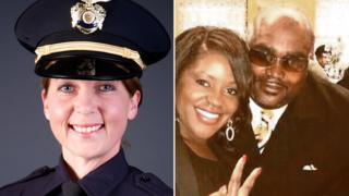 Officer Betty Shelby (L) shot and killed Terence Crutcher, pictured with his twin sister