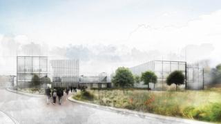 Artist impression of new Velindre Cancer Centre