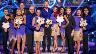 Six former Blue Peter presenters with Strictly dancers