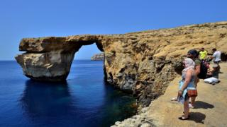 The natural arch 'The Azure Window' is seen at Dwejra Bay on May 20, 2014 in Dwejra/Gozo, Malta