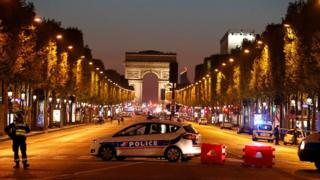 Police on the Champs-Elysee