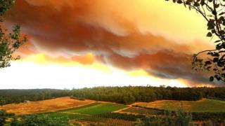 Smoke through the bushfire blanketed Perth on Sunday