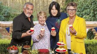 Channel 4 of the judges and presenters for The Great British Bake Off (left to right) Paul Hollywood, Sandi Toksvig, Noel Fielding and Prue Leith.