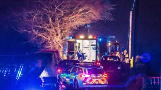 Emergency vehicles at Coolkeeran Road crash scene, 7 May 2018