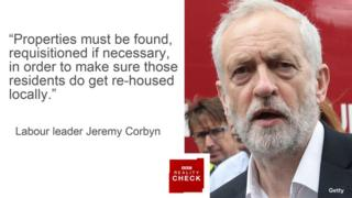Jeremy Corbyn saying: properties must be found, requisitioned if necessary, in order to make sure those residents do get re-housed locally.